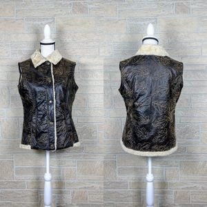 Woolrich Faux Fur Distressed Leather Bomber Vest